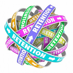 Retention word on rings in a cycle or circle to illustrate keeping, retaining and holding customers or employees