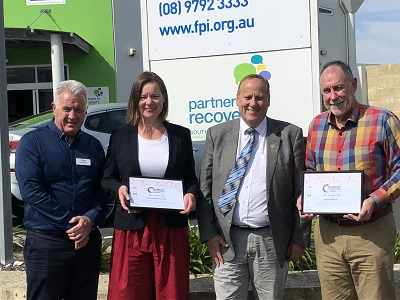 CEO BGCCI Mark Seaward, CEO Forrest Personnel, Anna Bagshaw, MLA, Don Punch and CEO Enable, Robert Holmes at Forrest Personnel Friday the 9th of November, 2018.