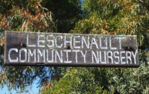 Wooden sign with carved lettering painted white saying Leschenault Community Nursery. Trees are in the background
